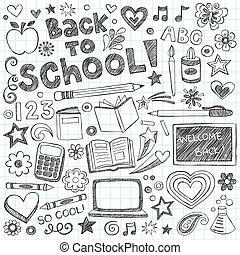 sketchy, école, ensemble, dos, doodles