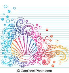 sketchy, plage, huître, seashell, doodl
