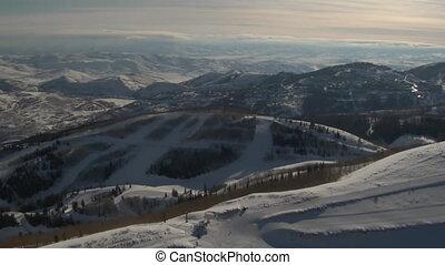 ski, coup, recours, aérien, ville, montagnes