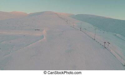 ski-course, aérien, ascenseur, coup, vide