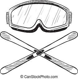 ski eau, équipement, croquis