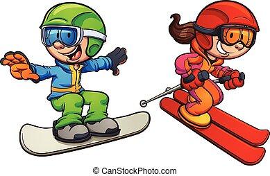 ski, gosses, snowboarding