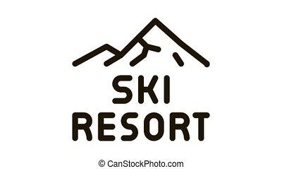 ski, icône, animation, recours