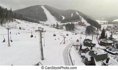 ski, prise vue aérienne, ascenseur