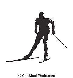 ski, silhouette, vecteur, croix, skieur, pays, résumé