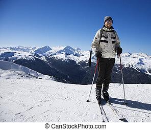 ski, slopes., homme