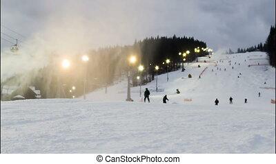 ski, timelapse, ski, slopes., nuit