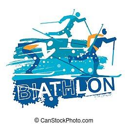 skieurs, grunge, pays, course, croix, biathlon, stylized.