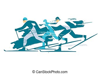 skieurs, pays colère, course