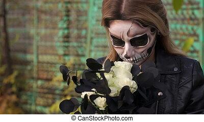 skull., formulaire, bouquet, terrifiant, mariée, noir, maquillage, fleurs