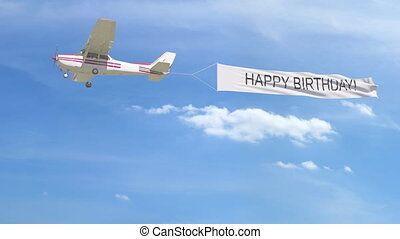sky., heureux, sous-titre, bannière, hélice, anniversaire, agrafe, petit, 4k, avion, remorquage