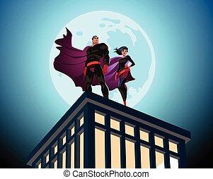 sky., vecteur, superhero, mâle, nuageux, femme, couple., illustration, superheroes.