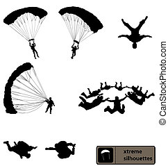 skydiving, silhouettes, collection