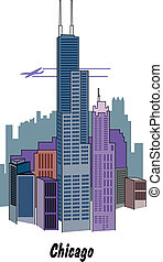 skyline., chicago, illinois