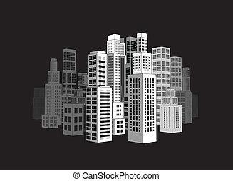 skyscrapers., ville, bâtiments