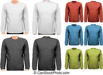 sleeved, texte, long, échantillon, space., vector., chemises