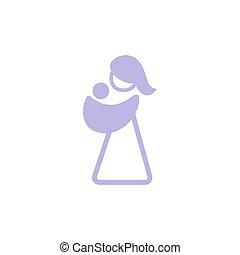 sling., fronde, elle, logotype, vecteur, mère, bébé, logo