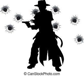 slinger, fusil, occidental, fusillade