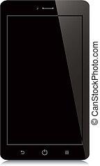 smartphone, écran, arrière-plan noir, vide, blanc
