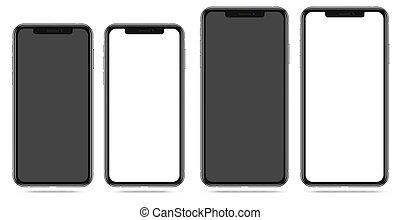 smartphone, écran, moderne, noir, vide, blanc