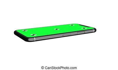 smartphone, écran, tourner, position., vert, horizontal, exposer