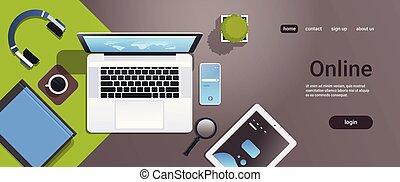 smartphone, angle, bureau, tablette, espace, mobile, ordinateur portable, sommet, bureau, remplir, lieu travail, ligne, écran, horizontal, copie, informatique, app, vue