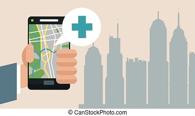 smartphone, app, animation, utilisation, hd, gps