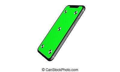 smartphone, autour de, affichage écran, tourner, vert, axis., sien