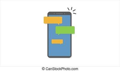 smartphone, bleu, animé, grey., message, bubbles., recieve, envoyer, messages, social, conversation, sms, network., texte, type, messager, message., recieve., messages., communication, média