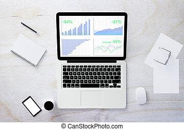 smartphone, business, bois, graphique, ordinateur portable, haut, autre, table, vide, blanc écran, railler, accesories