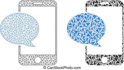 smartphone, carcasse, polygonal, maille, message, mosaïque, icône