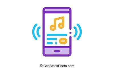 smartphone, chanson, écoute, musique, animation, icône