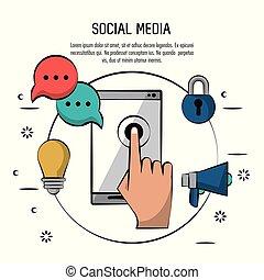 smartphone, coloré, icônes, média, affiche, lumière, cadenas, parole, social, ampoule, cercle, porte voix, bulle