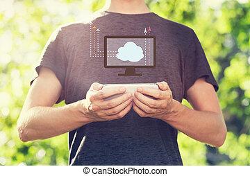 smartphone, concept, calculer, jeune, sien, tenue, nuage, homme