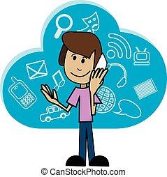 smartphone, dessin animé, homme