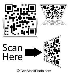 smartphone, ensemble, barcode