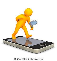 smartphone, loupe, homoncule