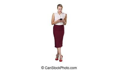smartphone, main, écran, arrière-plan., toucher, doigt, femme, message, européen, type, blanc, séduisant