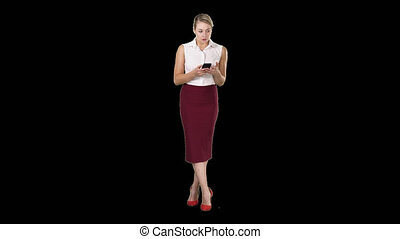 smartphone, main, écran, toucher, doigt, femme, alpha, message, européen, type, canal, séduisant