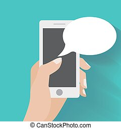smartphone, main, parole, tenue, vide, bulles