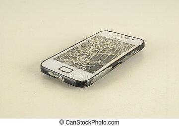 smartphone, moderne, cassé, mobile, écran, touchscreen