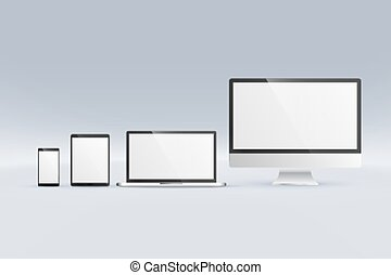 smartphone, moniteur, tablette, mockup, ordinateur portatif