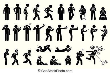 smartphone, ou, tenue, utilisation, fondamental, téléphone, différent, homme, position, porter, postures.