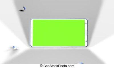 smartphone, plancher, écran, haut, milieu, vert, goûts, automne, pouces