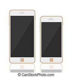 smartphone, réaliste, 3d, gabarit