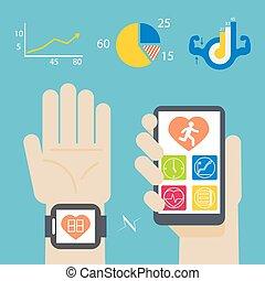 smartphone, santé, livre, smartwatch