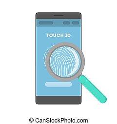 smartphone, scanner, empreinte doigt