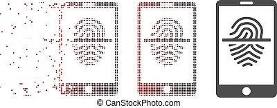 smartphone, scanner, fracturé, halftone, empreinte doigt, pixel, icône