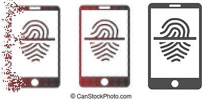 smartphone, scanner, pointillé, halftone, cassé, empreinte doigt, icône