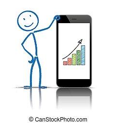 smartphone, stickman, diagramme, croissance